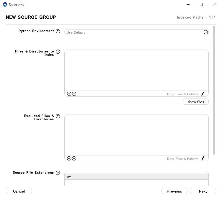 sourcetrail:pythonのソースグループの設定